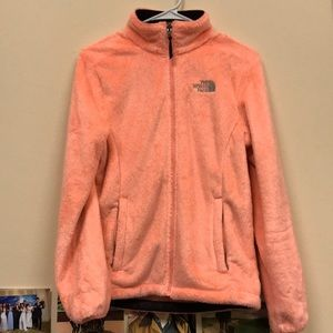 Orange Fuzzy North Face Jacket